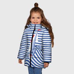 Детская зимняя куртка для девочки с принтом Полосатый рейс, цвет: 3D-черный, артикул: 10138860506065 — фото 2