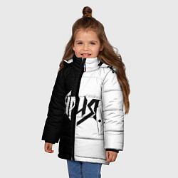 Куртка зимняя для девочки Ария Ч/Б цвета 3D-черный — фото 2