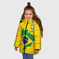 Детская зимняя куртка для девочки с принтом Сборная Бразилии: желтая, цвет: 3D-черный, артикул: 10143140306065 — фото 2
