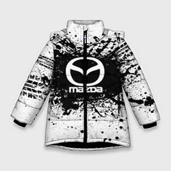 Детская зимняя куртка для девочки с принтом Mazda: Black Spray, цвет: 3D-черный, артикул: 10147676306065 — фото 1