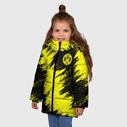 Куртка зимняя для девочки FC Borussia Dortmund цвета 3D-черный — фото 2