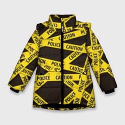 Детская зимняя куртка для девочки с принтом Police Caution, цвет: 3D-черный, артикул: 10149339106065 — фото 1