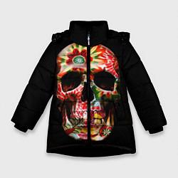 Куртка зимняя для девочки Расписной череп цвета 3D-черный — фото 1