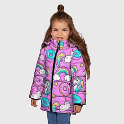 Куртка зимняя для девочки Сказочные единороги цвета 3D-черный — фото 2