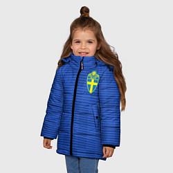 Куртка зимняя для девочки Сборная Швеции: Гостевая ЧМ-2018 цвета 3D-черный — фото 2