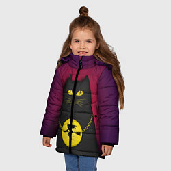 Куртка зимняя для девочки Кот Бегемот цвета 3D-черный — фото 2
