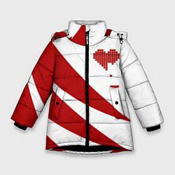 Куртка зимняя для девочки Игра в сердца цвета 3D-черный — фото 1