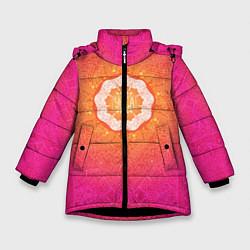 Куртка зимняя для девочки Солнечная мандала цвета 3D-черный — фото 1