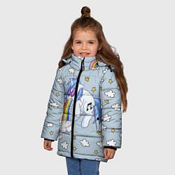 Детская зимняя куртка для девочки с принтом Рарити пони, цвет: 3D-черный, артикул: 10159333106065 — фото 2