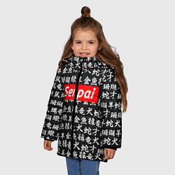 Куртка зимняя для девочки Senpai Hieroglyphs цвета 3D-черный — фото 2