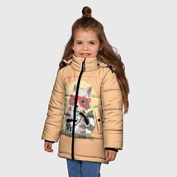 Куртка зимняя для девочки Raccoon Love Coffee цвета 3D-черный — фото 2