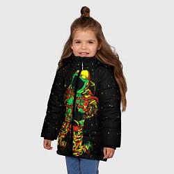 Куртка зимняя для девочки Космонавт с кальяном цвета 3D-черный — фото 2