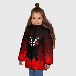 Детская зимняя куртка для девочки с принтом Kumamon: Hell Flame, цвет: 3D-черный, артикул: 10162548706065 — фото 2
