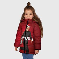 Куртка зимняя для девочки Новогодний Дзюба цвета 3D-черный — фото 2