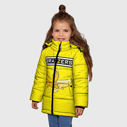 Детская зимняя куртка для девочки с принтом Brazzers: Yellow Banana, цвет: 3D-черный, артикул: 10167454506065 — фото 2