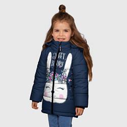 Детская зимняя куртка для девочки с принтом Sweet Bunny, цвет: 3D-черный, артикул: 10171329506065 — фото 2