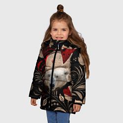 Куртка зимняя для девочки Медведь в ушанке цвета 3D-черный — фото 2