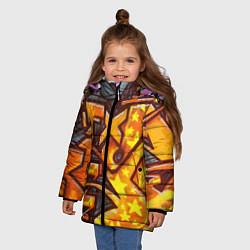Куртка зимняя для девочки Orange Graffiti цвета 3D-черный — фото 2