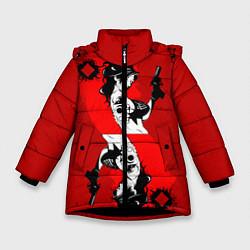 Куртка зимняя для девочки Дама бубен цвета 3D-черный — фото 1