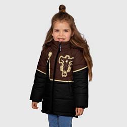 Куртка зимняя для девочки Черный Клевер: Мантия цвета 3D-черный — фото 2