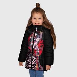 Куртка зимняя для девочки Гейша цвета 3D-черный — фото 2
