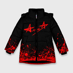 Куртка зимняя для девочки АлисА на спине цвета 3D-черный — фото 1