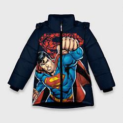 Куртка зимняя для девочки Superman цвета 3D-черный — фото 1