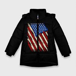 Куртка зимняя для девочки Флаг цвета 3D-черный — фото 1