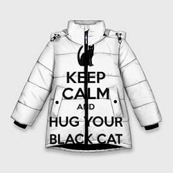 Куртка зимняя для девочки Обними своего черного кота - фото 1