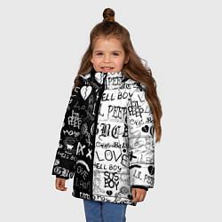 Куртка зимняя для девочки LIL PEEP LOGOBOMBING цвета 3D-черный — фото 2