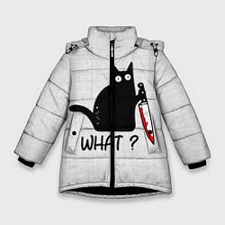 Куртка зимняя для девочки What cat цвета 3D-черный — фото 1