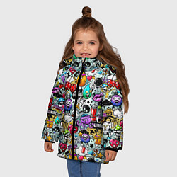Куртка зимняя для девочки Stickerboom цвета 3D-черный — фото 2