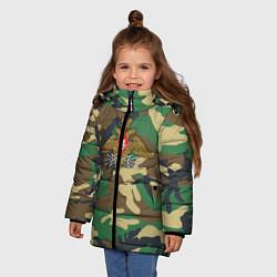Куртка зимняя для девочки Камуфляж Войска связи цвета 3D-черный — фото 2