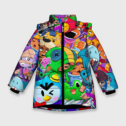 Куртка зимняя для девочки BRAWL STARS цвета 3D-черный — фото 1
