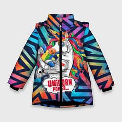 Куртка зимняя для девочки Unicorn Power Единорог цвета 3D-черный — фото 1