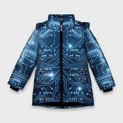 Куртка зимняя для девочки Системная плата цвета 3D-черный — фото 1