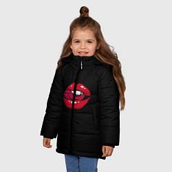 Куртка зимняя для девочки Губы - фото 2