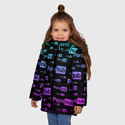 Куртка зимняя для девочки PornHub цвета 3D-черный — фото 2