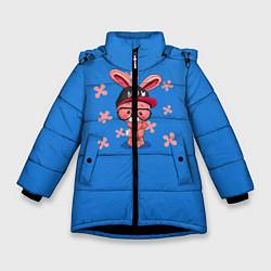 Детская зимняя куртка для девочки с принтом Милый Заяц, цвет: 3D-черный, артикул: 10230917506065 — фото 1