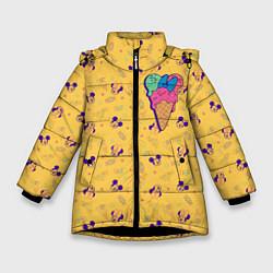 Детская зимняя куртка для девочки с принтом Минни Маус мороженое, цвет: 3D-черный, артикул: 10250066506065 — фото 1
