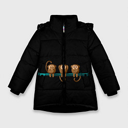 Куртка зимняя для девочки Обезьяны слух зрение речь трио цвета 3D-черный — фото 1