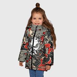 Куртка зимняя для девочки CYBERPUNK2077 SAMURAI цвета 3D-черный — фото 2
