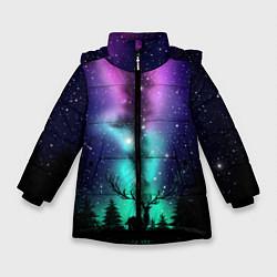Куртка зимняя для девочки Силуэт оленя северное сияние цвета 3D-черный — фото 1