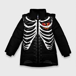 Куртка зимняя для девочки Сердце в груди цвета 3D-черный — фото 1
