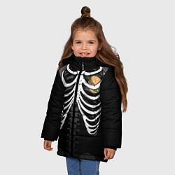 Куртка зимняя для девочки Бургер в груди цвета 3D-черный — фото 2