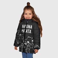Куртка зимняя для девочки Хакуна Матата цвета 3D-черный — фото 2
