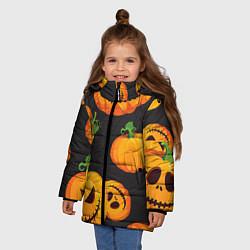 Куртка зимняя для девочки Весёлые тыквы цвета 3D-черный — фото 2