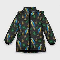Куртка зимняя для девочки Попугай Ара цвета 3D-черный — фото 1