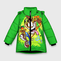 Детская зимняя куртка для девочки с принтом CRASH BANDICOOT, цвет: 3D-черный, артикул: 10275187506065 — фото 1