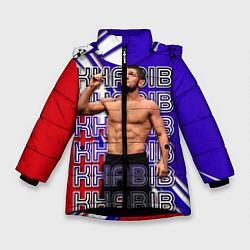 Куртка зимняя для девочки Хабиб Нурмагомедов Орёл цвета 3D-черный — фото 1